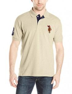 U.S. Polo Assn. Men's Multi Color Logo Solid Pique Polo Shirt - Oatmeal Heather X-Large