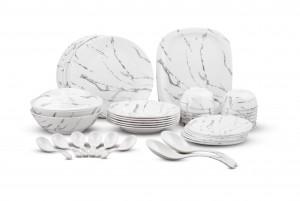 Dinewell Melamine White Stone Dinner Set