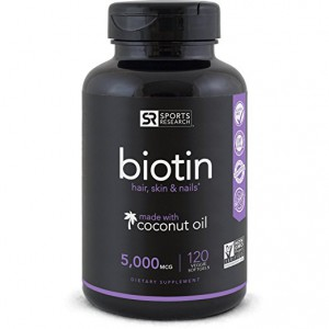Biotin (High Potency) 5000mcg Per Veggie Softgel; Enhanced with Coconut Oil for better