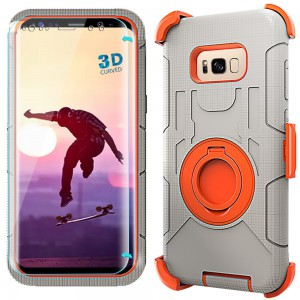 Case-Cubic, Galaxy S8 Case,S8 Holster-Dual Layer Armor Defender Protective Case Cover with kickstand,Belt Swivel Clip,TPU Curved Edge to Edge HD Screen Protector for Samsung S8(Orange)