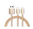 Porodo 2 in1 Braided Metal Cable (With Integrated Usb For Android And Apple Devices)