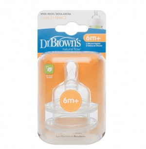 Dr. Brown's Level-3 Silicone Wide Neck Options Nipple 382-INTL- 2 Pack