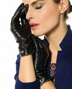 Elma Womens Classic Touchscreen Texting Winter Warm Leather Gloves 100% Pure Cashmere Lined- Black