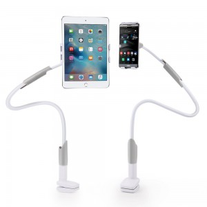 EasyAcc Phone iPad Clip Stand Gooseneck Universal Cellphone Tablets Holder Mount 360 Degree Rotating 1M Long Bracket Flexible for 4-10.6 Inches Phones Tablets (White Gray)