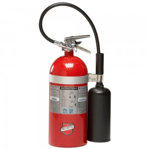 "Buckeye 45600 Carbon Dioxide Hand Held Fire Extinguisher with Wall Hook, 10 lbs Agent Capacity, 6-7/8"" Diameter x 12"" Width x 19-3/4"" Height"