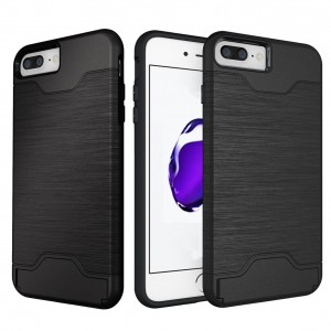 Pasnity iPhone 7 Plus Case, (Black) Shock Drop Protection True Fit [Card Slot] [Brushed Texture] with Kickstand Cover