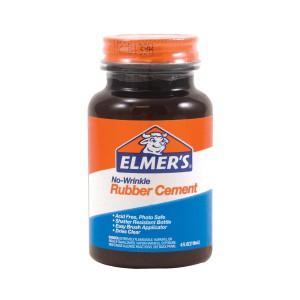 Elmer's No-Wrinkle Rubber Cement, Clear, Brush Applicator.