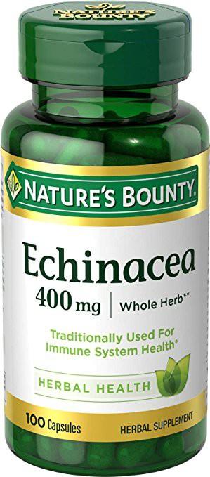 Nature's Bounty Echinacea 400 mg Natural, 100 Capsules