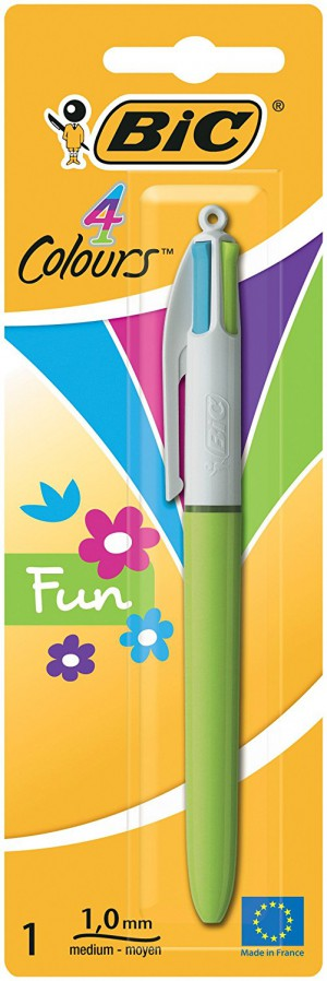 BiC 4 Colour Fun Fashion Ballpoint Pen with Medium Nib - Fashion