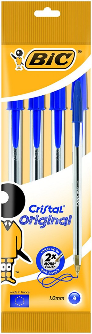 BiC Cristal Original 1.0 mm Ball Pen - Blue, Pack of 4