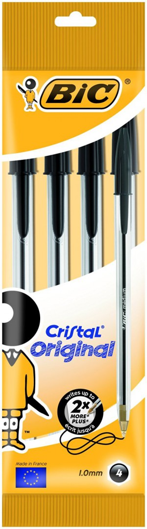 BiC Cristal Original 1.0 mm Ball Pen - Black, Pack of 4