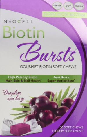 Neocell Laboratories Biotin Bursts Chewable Acai Berry, High Potency, 30 Soft Chews