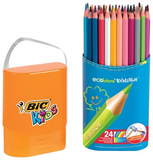 BiC Kids Evolution Colouring Pencils - Multi-Coloured, Case of 24