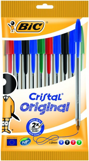 BiC Cristal Original 1.0 mm Ball Pen - Multi-coloured, Pack of 10