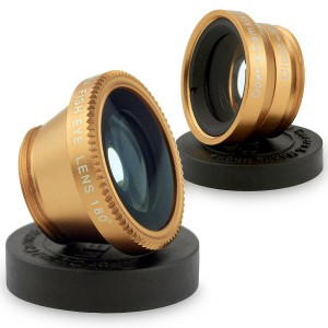 3 in1 Fish Eye+ Wide Angle + Macro Camera Clip-on Lens-Gold