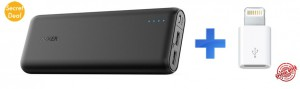 Anker PowerCore 20100 (Black)+Apple Lightning to Micro USB Adapter