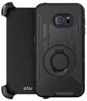 E LV Holster Case Cover - Dual Layer Armor Defender Protective Case Cover with kickstand and Belt Swivel Clip for Samsung Galaxy S6 Edge PLUS case - [BLACK]