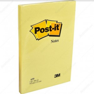 Post-It Notes, 659, Canary Yellow, 4 in x 6 in, 100 sheets per pad