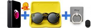 Apple iPhone 7 128GB, LTE-J.BLK +Snap Spectacles+iRing Bundle Pack