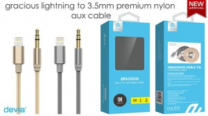 Devia Gracious Lightning to 3.5mm Premium Nylon Aux Cable