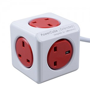 PowerCube Extended 5 way Power Socket UK Plug 1.5M Cable - Red