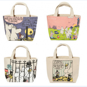 Cute Moomin Canvas Tote Lunch Bag for Kids School Small Cartoon Lunch Box Bags Picnic Food Bag Women Handbag