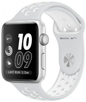 Apple Watch Nike Series 42mm Silver Aluminum Case Flat with Silve/White Sport Band