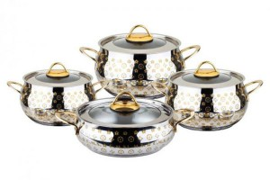OMS Stainless Steel Gold Plated Cooking Set of 8 Pieces - 1022
