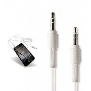 PHILIPS AUX/AUDIO CABLE 3.5MM HEADPHONE JACK WHITE DLC2401/10