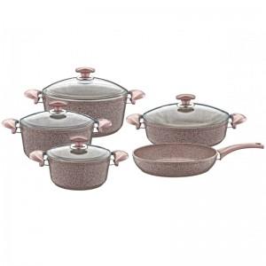 OMS 9pcs Inside & Outside Granite Cookware Set - 3002-2894