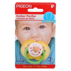 Pigeon Rubber Pacifier Orthodontic Cherry/Yellow