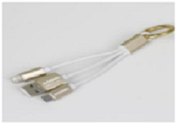 Porodo Golden Key Data Cable 2 in1 With Ring (60mm In Length)