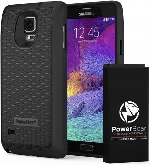 Powerbear Samsung Galaxy Note 4 Extended Battery [7500mah] & Back Cover & Protective Case (Up To 2.3x Extra Battery Power) - Black