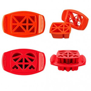 FunBites Orange+Red Sandwhich/Food Cutter Triangle+Heart Shaped (FB-TH)