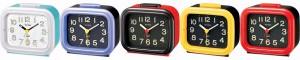 Rhythm - Basic Bell Alarm Clocks - Red-black, Black-red, Black-yellow, Blue-white  Case ,Black - Blue