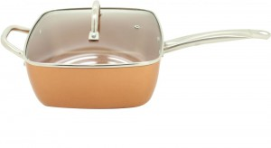 Sonashi Copper Tech 5-In-1 Copper Coated Square Fry Pan 4 Piece Set Brown - 30 cm SFP-8030