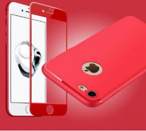 TPU  Red case & 3D Full cover black Tempered Glass - iPhone 7