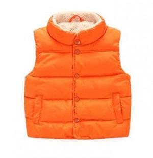 Taiycyxgan Toddler Kid Boys Girls Winter Fleece Vest High Neck Warm Waistcoat Jacket-Orange  110(3-4 years)