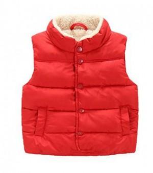 Taiycyxgan Toddler Kid Boys Girls Winter Fleece Vest High Neck Warm Waistcoat Jacket-100 Red(2-3 years)