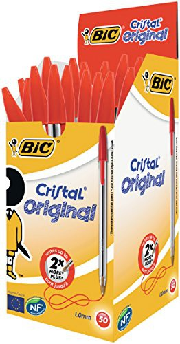 Bic Crystal Ballpoint Pen, Medium Point, Red Pack of 50