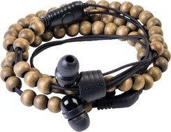 Wrap - Wooden Beads Earphone With MIC - Black