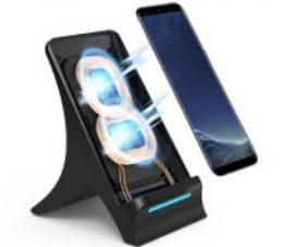 Wireless Charger Fast Charging Stand Holder Dock for Samsung and iPhones - Black - QI L001