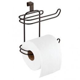 mDesign Toilet Paper Roll Holder for Bathroom Storage, Over the Tank ...