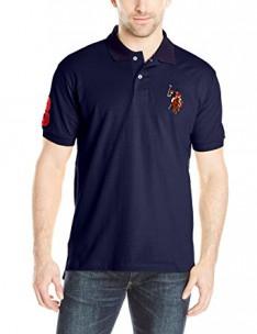 U.S. Polo Assn. Men's Multi Color Logo Solid Pique Polo Shirt - X-Large