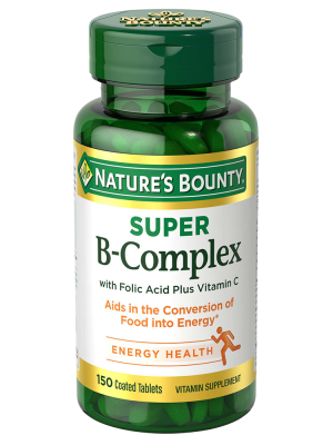 Nature's Bounty B-Complex Super with Folic Acid Plus Vitamin C, Tablets, 100 ct