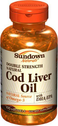 Sundown Natural Cod Liver Oil 100 Softgels