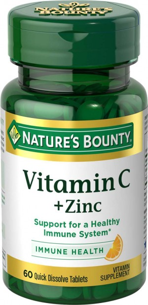 Nature's Bounty Vitamin C Plus Zinc, 60 Quick Dissolve Tablets
