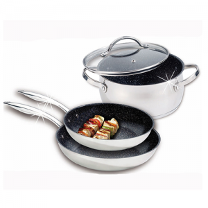 Stoneline professional 4pc cookware set, stainless steel / glass lid WX 12384