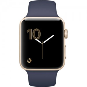 Apple - Watch Series 2 42mm Smartwatch (Gold Aluminum Case, Midnight Blue Sport Band)