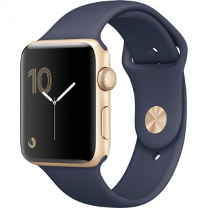 Apple Watch Series 2 42mm Smartwatch (Gold Aluminum Case, Midnight Blue Sport Band)